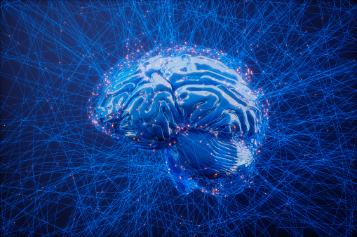 Digital Brain And Artificial Intelligence Concept With Blue Plexus Lines