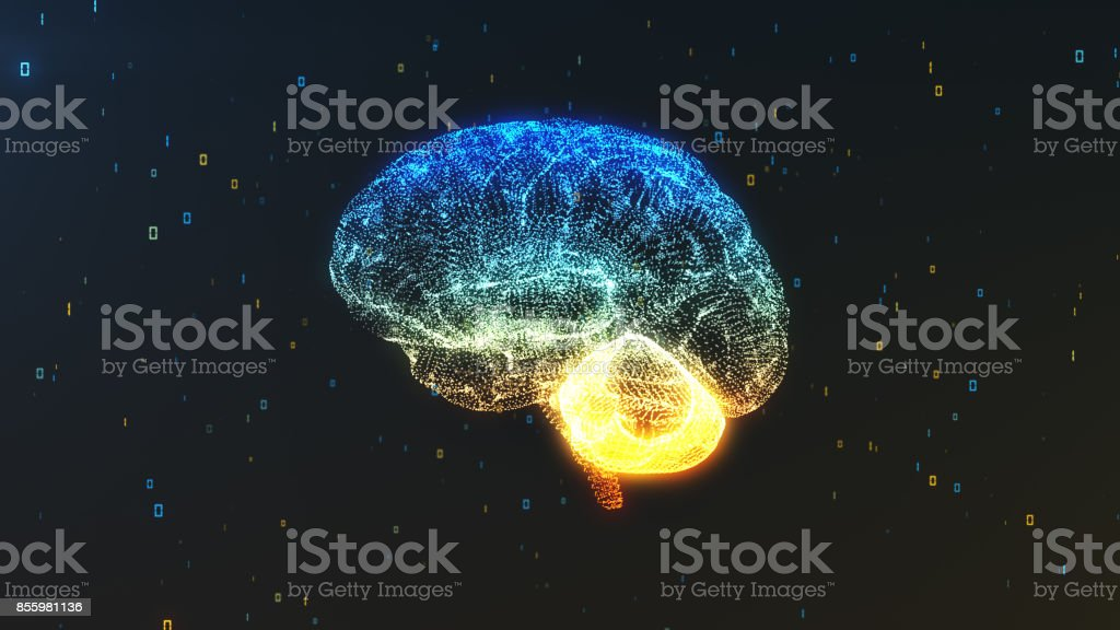 A digital brain in a cloud of numerical information in profile view illustrating concepts of computing stock photo