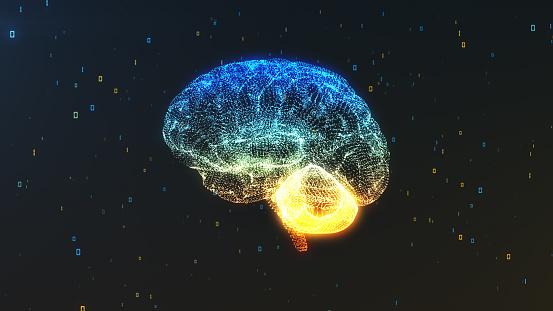 Un Cerebro En Una Nube De Información Numérica En La Vista De Perfil Que Ilustran Conceptos De Computación Digital Foto de stock y más banco de imágenes de Abstracto