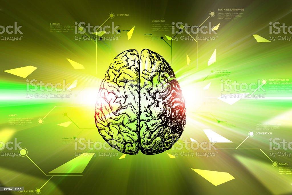Digital brain in color background stock photo