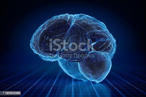 3D human brain in an abstract digital environment.