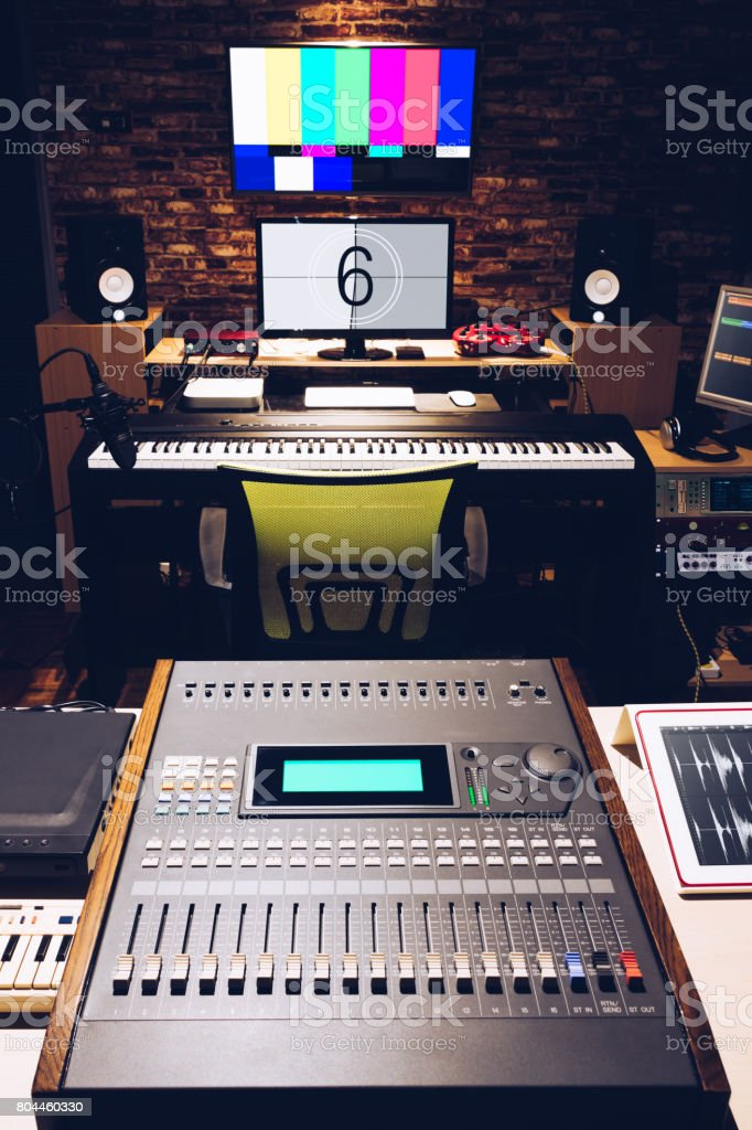 digital broadcasting, editing, recording studio stock photo