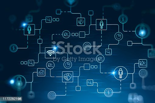 Glowing digital business interface and icons over dark blue background. Concept of hi tech in business. 3d rendering