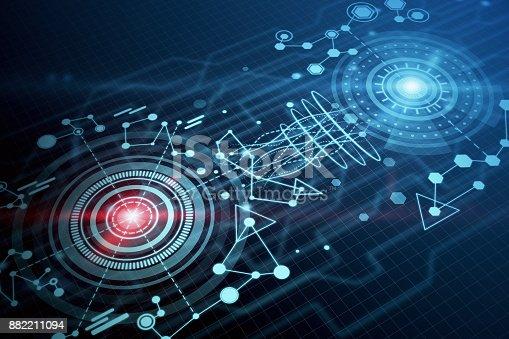 istock Digital business wallpaper, technology and hologram 882211094