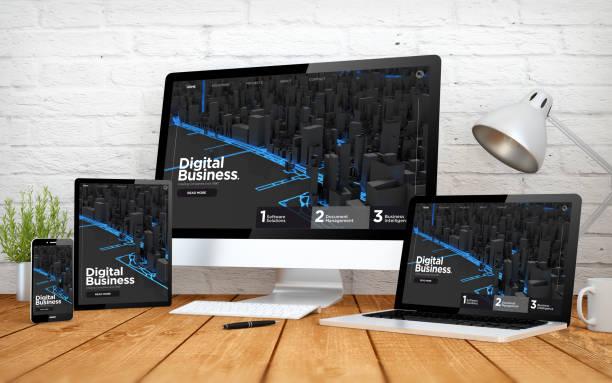 dijital iş web sitesi duyarlı tasarım ekran multidevices - web sayfası stok fotoğraflar ve resimler