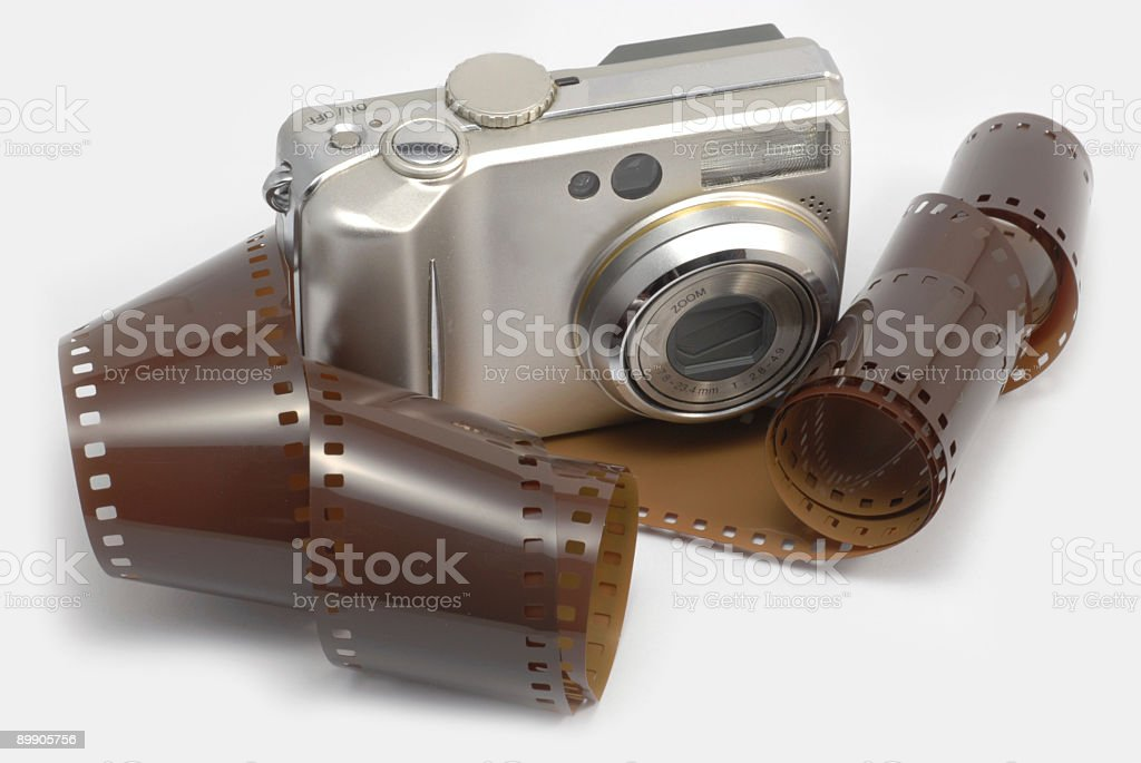 Digital camera and film royalty-free stock photo