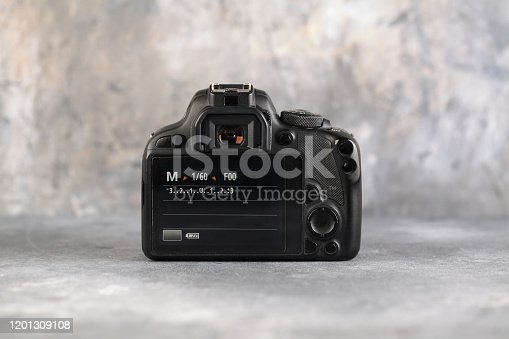 DSLR Digital Camera APS-C sensor of A EOS Canon 100D on gray cement background.