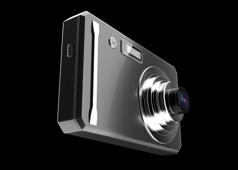 Digital Camera, Isolated, 3D Rendering