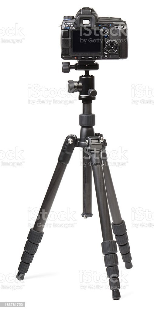 Digital camera on tripod stock photo