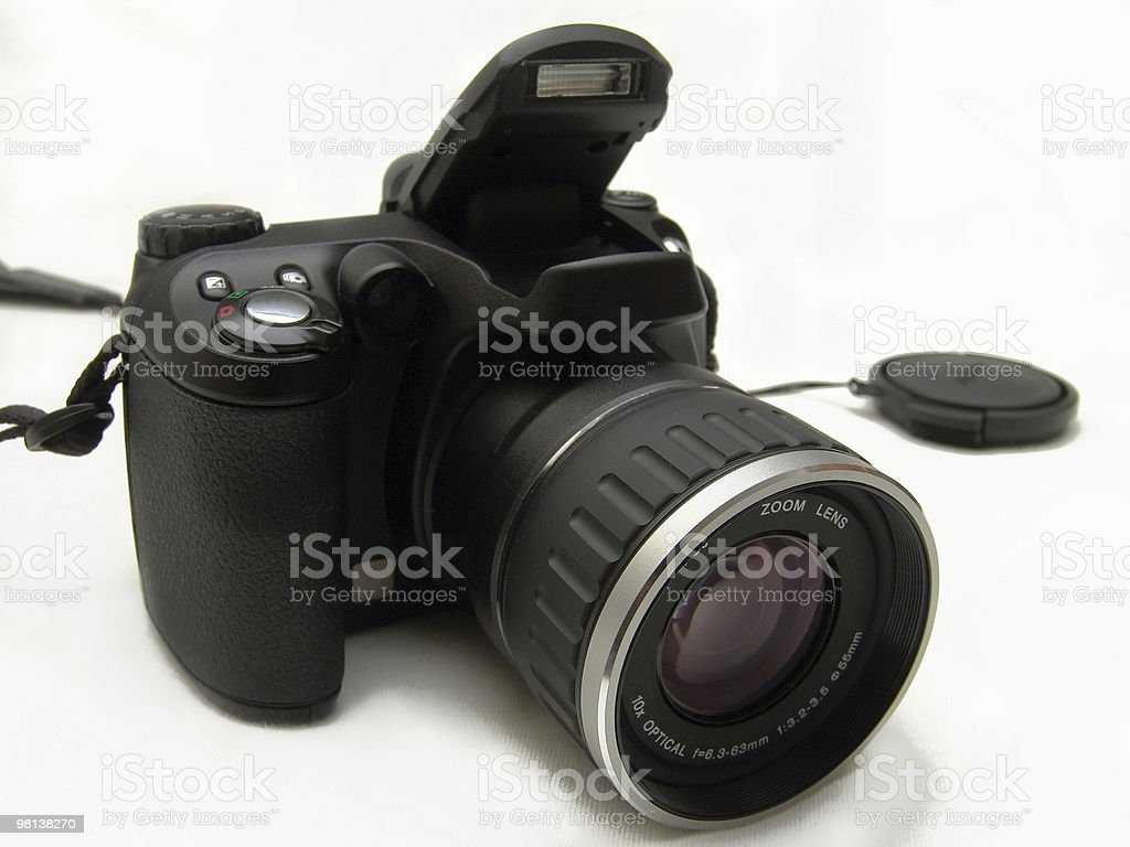 Digital Camera on white cloth royalty-free stock photo