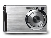Compact digital camera on white. This file includes
