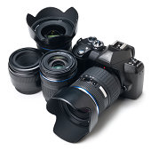 'Black digital camera with lenses. This file is cleaned, retouched and contains'