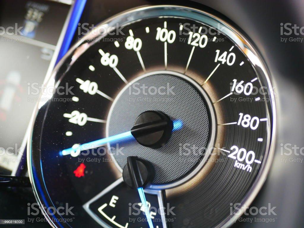 Digital Car Indicator Car Dash Close Up Stock Photo - Download Image Now