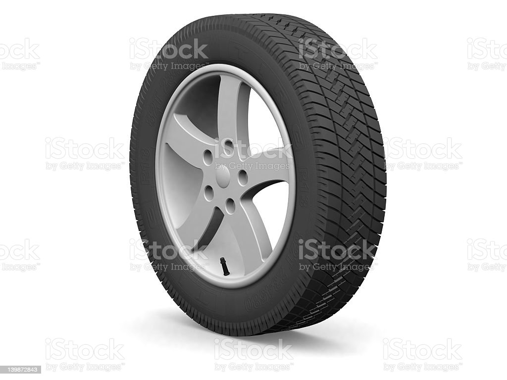 Digital car wheel isolated on white  royalty-free stock photo