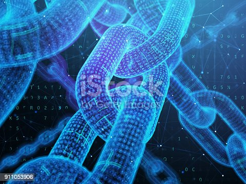 istock Digital chain. Blockchain technology concept. 911053906