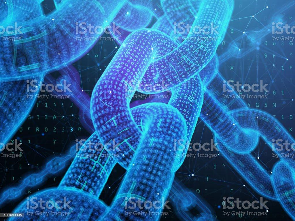 Digital chain. Blockchain technology concept. stock photo