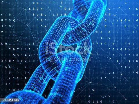istock Digital chain. Blockchain technology concept. 911054106
