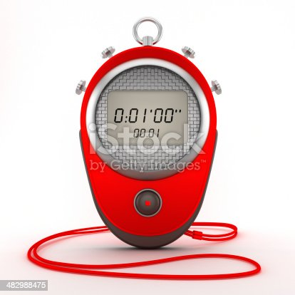 Red digital chronometer (stopwatch) isolated on white.