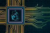 istock Digital circuit heart scheme as a chip in a microchip 1217249943