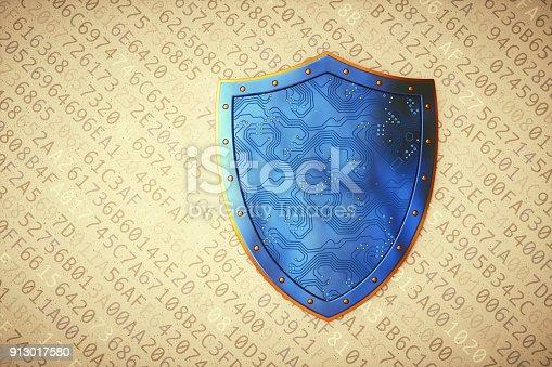 istock Digital circuit shield on encrypted data 913017580