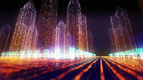 Futuristic city model. Holographic buildings