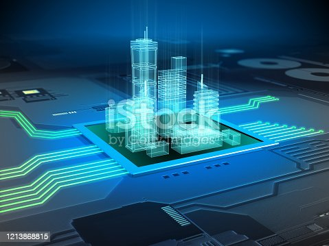 Modern city buildings on a printed circuits board. Digital illustration.