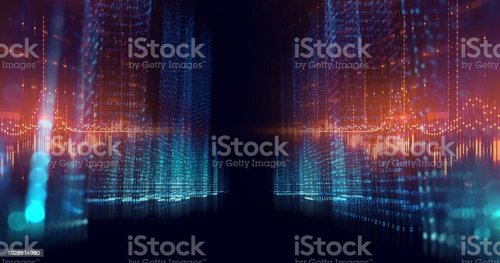 urbanité numérique avec illustration éléments numéro de chiffres - Photo