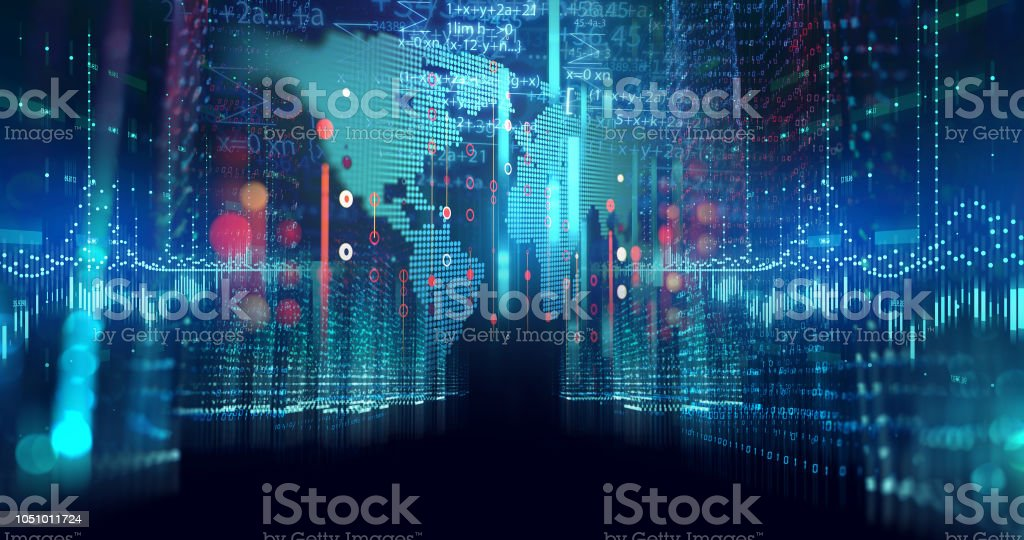 digital city scape with digit number elements illustration stock photo