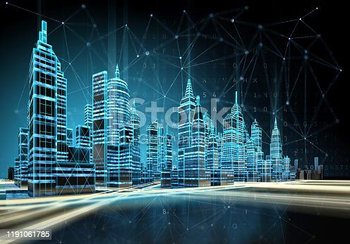 Futuristic cityscape view with luminous wireless connection lines. 3d illustration.