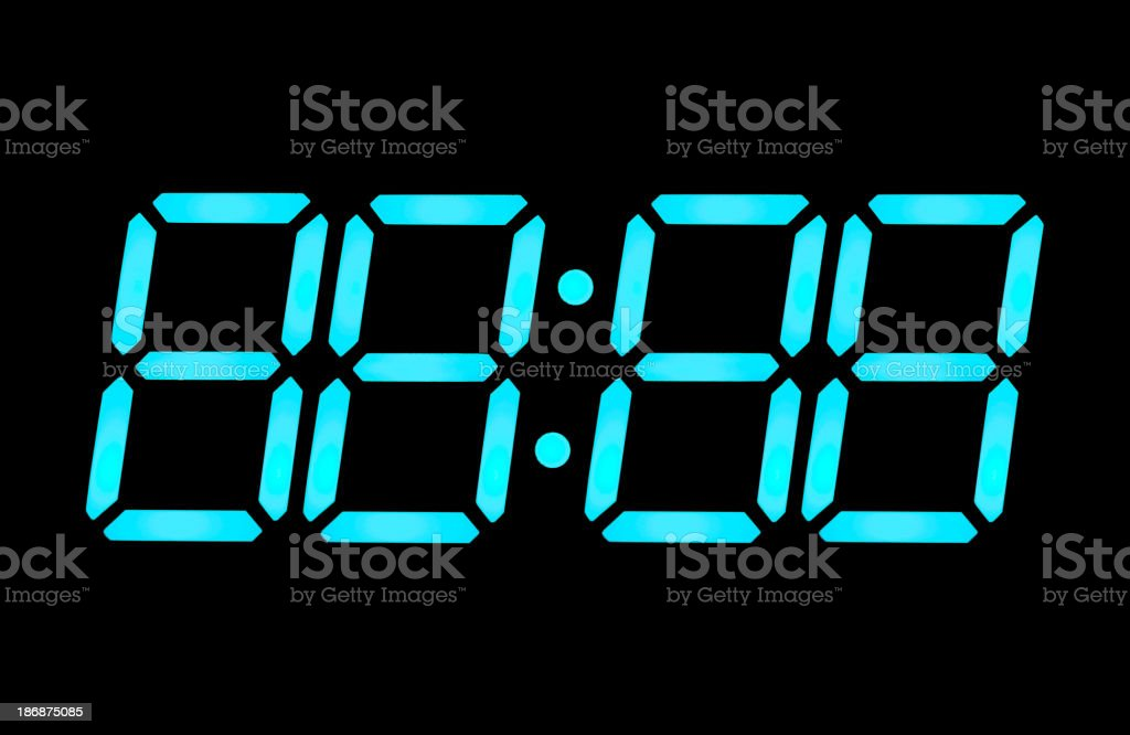 LCD digital clock numbers stock photo