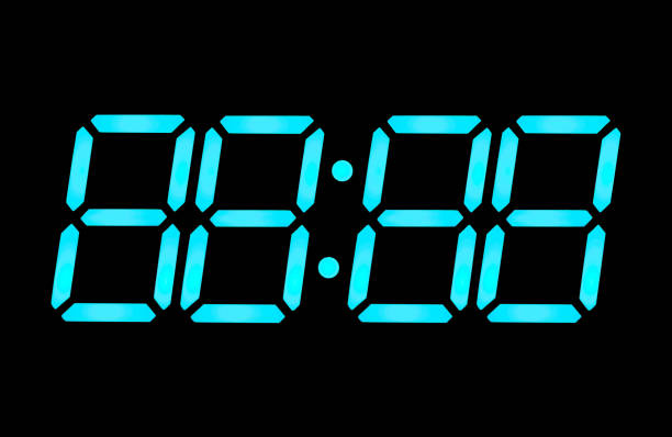 lcd digital clock numbers - countdown stock photos and pictures