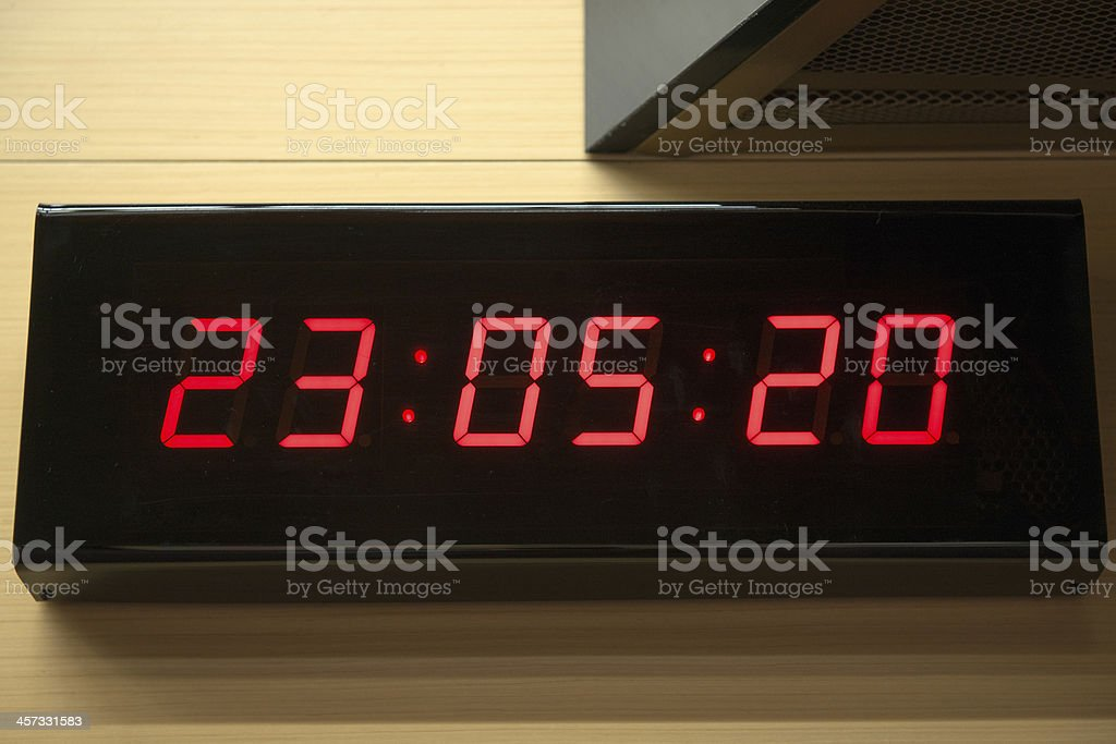 Digital clock on the wall stock photo
