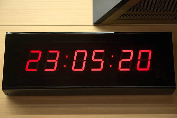 Digital clock on the wall stock photo