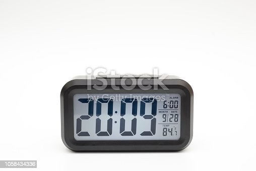 istock Digital clock on white background with clipping paths 1058434336