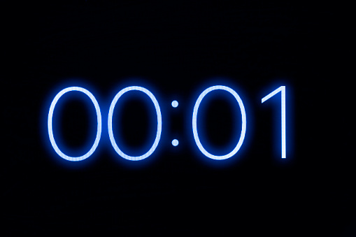 Digital Clock Timer Stopwatch Display Showing 1 One Second