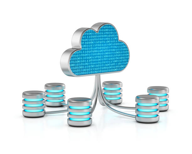 Digital cloud and database storage. stock photo