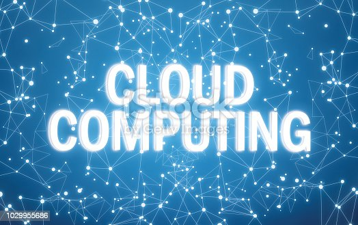 istock Digital cloud computing text on blue network background 1029955686