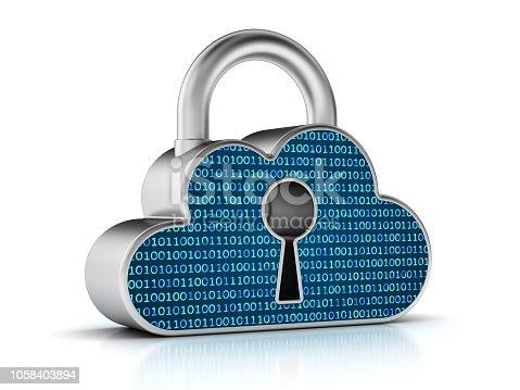 Digital cloud security. Protection data concept.