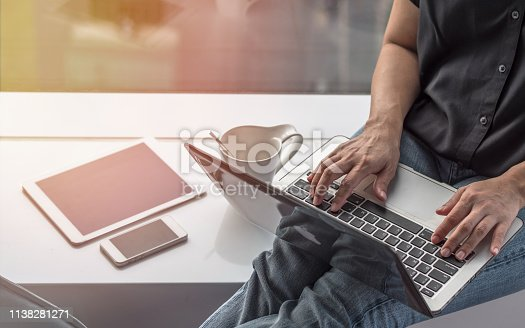 istock Digital communication lifestyle blog writer person using mobile smart device, or woman user typing on computer laptop working online via wireless internet technology 1138281271