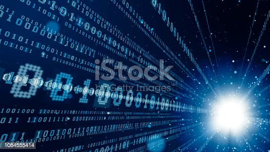 istock Digital communication network concept. Binary code. 1054555414