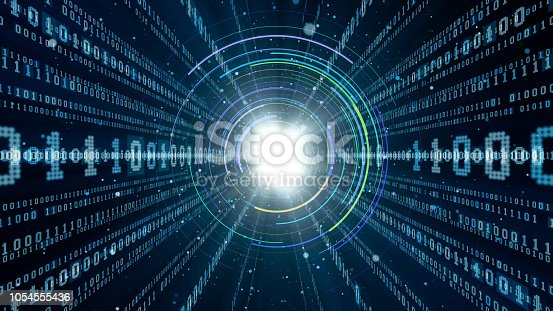 istock Digital communication network concept. Binary code. 1054555436