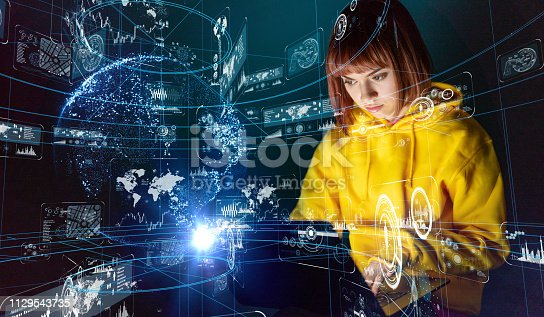 istock Digital communication network concept. 1129543735