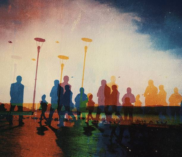 Digital composed multicolored view of people walking on the street