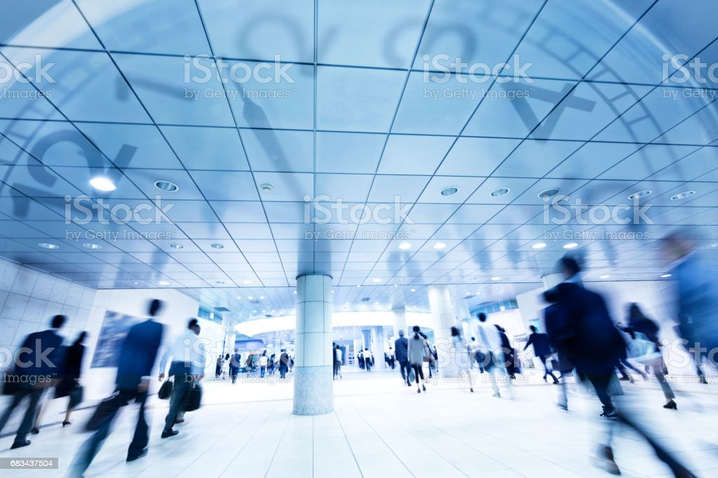Digital Composite Image of Tokyo City Commuters and Clock stock photo