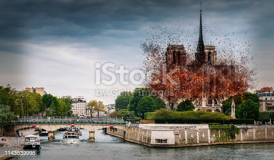istock Digital concept of early stages of Notre Dame Cathedral fire, which occured on April 15, 2019 in Paris, France 1143539995
