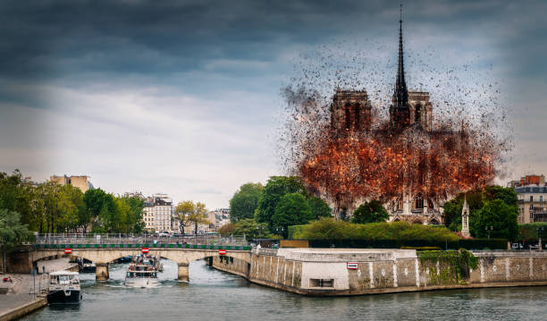 Digital concept of early stages of Notre Dame Cathedral fire, which occured on April 15, 2019 in Paris, France stock photo