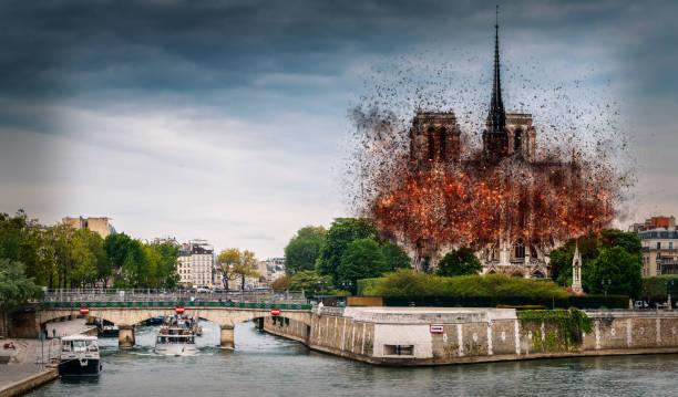 digitales konzept der frühen stadien der kathedrale notre dame, die am 15. april 2019 in paris, frankreich - kathedrale von notre dame stock-fotos und bilder