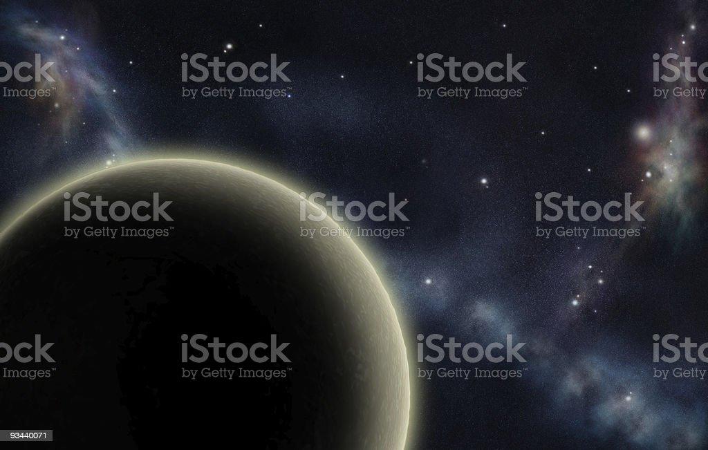Digital erstellt starfield mit ausgefallenen Nebel und gelbe planet Lizenzfreies stock-foto