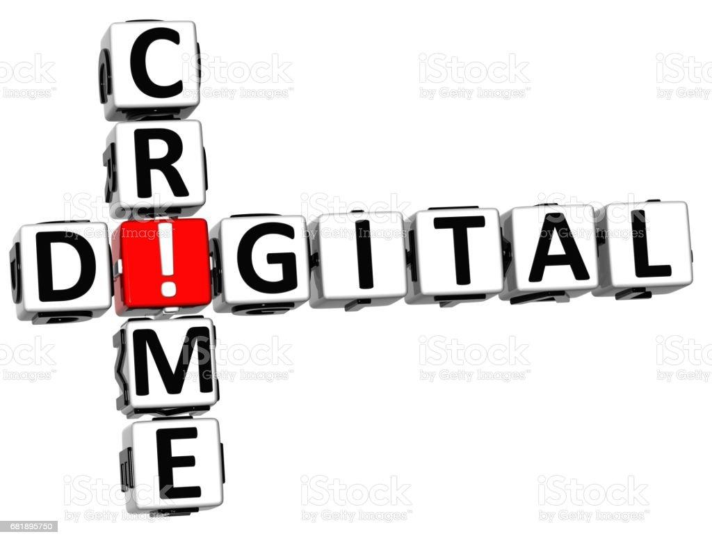 3D Digital Crime Crossword stock photo