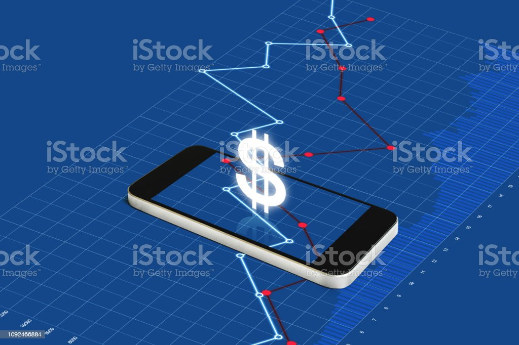 Digital currency and electronic online banking. Mobile smart phone with currency sign and raising graph stock photo